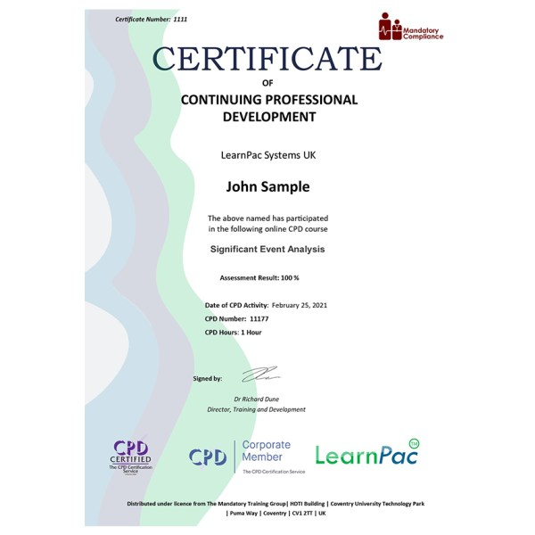 Significant Event Analysis – eLearning Course – CPD Certified – Mandatory Compliance UK –