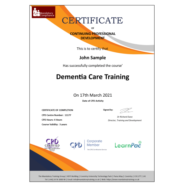 Dementia Care Training – eLearning Course – CPD Certified – Mandatory Compliance UK –