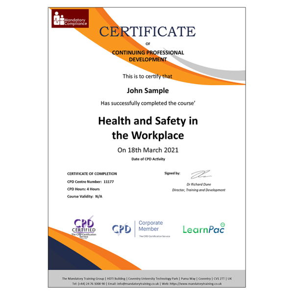 Health and Safety in the Workplace – CPDUK Certified – MAndatory Compliance UK –