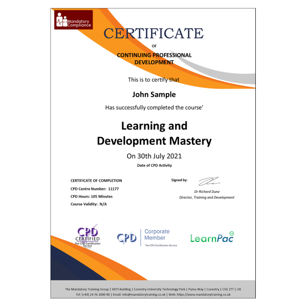Learning and Development Mastery – eLearning Course – CPD Certified – Mandatory-Compliance UK –