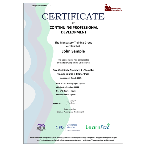 Care Certificate Standard 7 – Train the Trainer Course + Trainer Pack – CPD Certified – Mandatory Compliance UK –