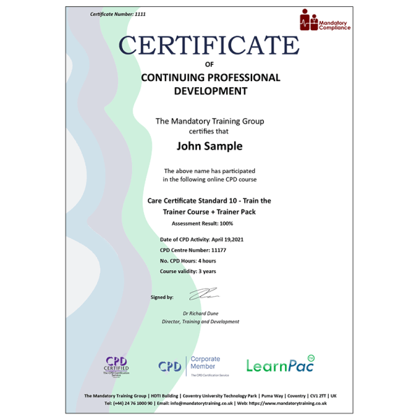 Care Certificate Standard 10 – Train the Trainer Course + Trainer Pack – CPD Certified – Mandatory Compliance UK –