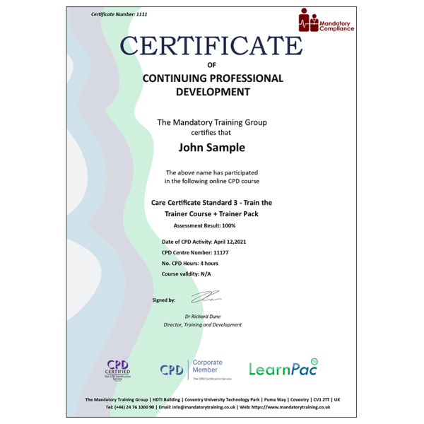 Care Certificate Standard 3 – Train the Trainer Course + Trainer Pack – CPD Accredited – Mandatory Compliance UK –