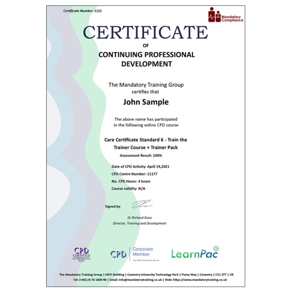 Care Certificate Standard 6 – Train the Trainer Course + Trainer Pack – CPD Certified – Mandatory Compliance UK –