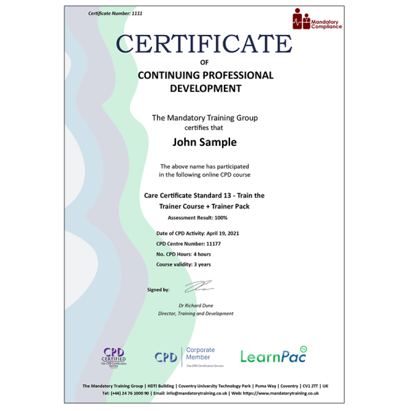 Care Certificate Standard 13 – Train the Trainer Course + Trainer Pack – CPD Certified – Mandatory Compliance UK –