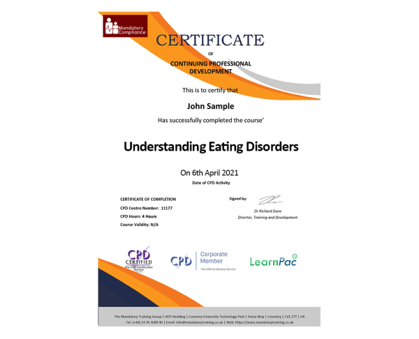 Understanding Eating Disorders – eLearning Course – CPD Certified – Mandatory Compliance UK –