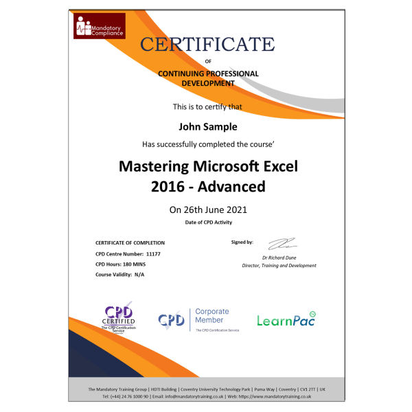 Mastering Microsoft Excel 2016 – Advanced – eLearning Course – CPD Certified – Mandatory-Compliance UK –