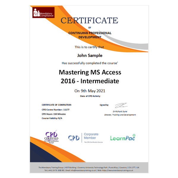 Mastering MS Access 2016 – Intermediate – eLearning Course – CPD Certified – Mandatory Compliance UK 1-