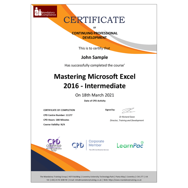 Mastering Microsoft Excel 2016 – Intermediate – eLearning Course – CPD Certified – Mandatory Compliance UK –
