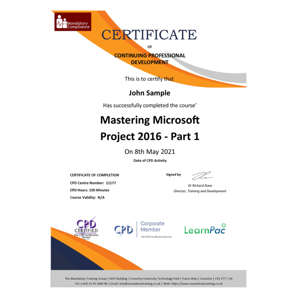 Mastering Microsoft Project 2016 – Part 1 – eLearning Course – CPD Certified – Mandatory Compliance UK 1-