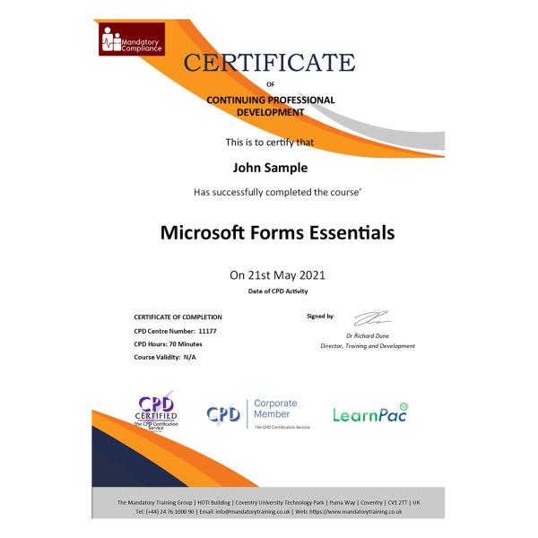 Microsoft Forms Essentials – eLearning Course – CPD Certified – Mandatory Compliance UK –