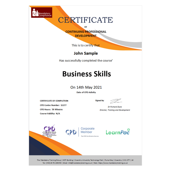 Business Skills – eLearning Package – CPD Certified – Mandatory Compliance UK –