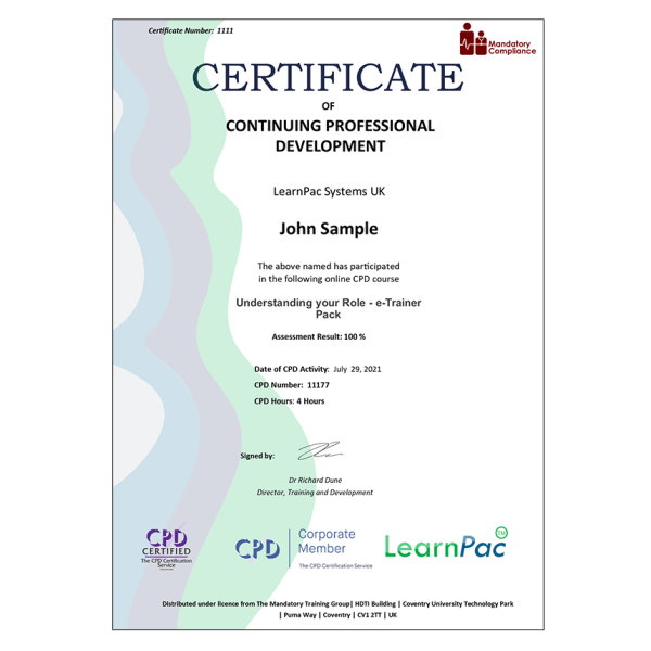 Understanding your Role – e-Trainer Pack – E-Learning – Course – CDPUK Accredited – The Mandatory Compliance UK –