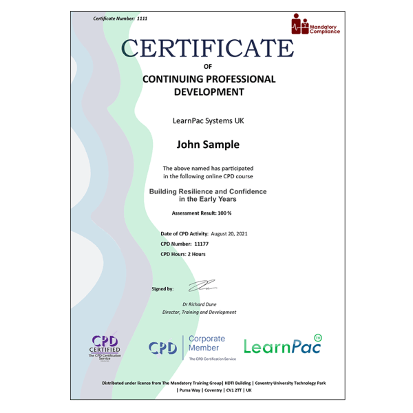 Building Resilience and Confidence in the Early Years – E-Learning – Course – CDPUK Accredited – The Mandatory Compliance UK –
