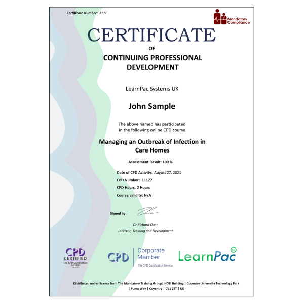 Managing an Outbreak of Infection in Care Homes – eLearning Course – CPD Certified – Mandatory Compliance UK –