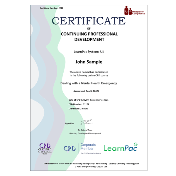 Dealing with a Mental Health Emergency – E-Learning – Course – CDPUK Accredited – The Mandatory Compliance UK –