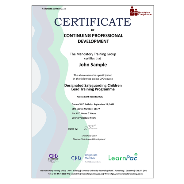 Designated Safeguarding Children Lead Training Programme – Online Training eLearning Package – CDPUK Accredited – The Mandatory Compliance UK –