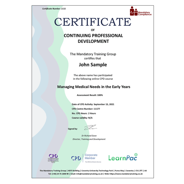 Managing Medical Needs in the Early Years – E-Learning – Course – CDPUK Accredited – The Mandatory Compliance UK –