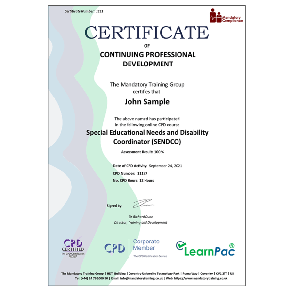 Special Educational Needs and Disability Coordinator (SENDCO) – eLearning Course – CPD Certified – Mandatory Compliance UK –