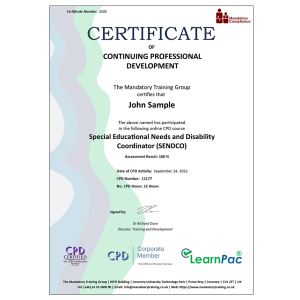 Special Educational Needs and Disability Coordinator (SENDCO) - eLearning Course - CPD Certified - Mandatory Compliance UK -