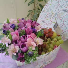 Heart-shaped flower box with fruit