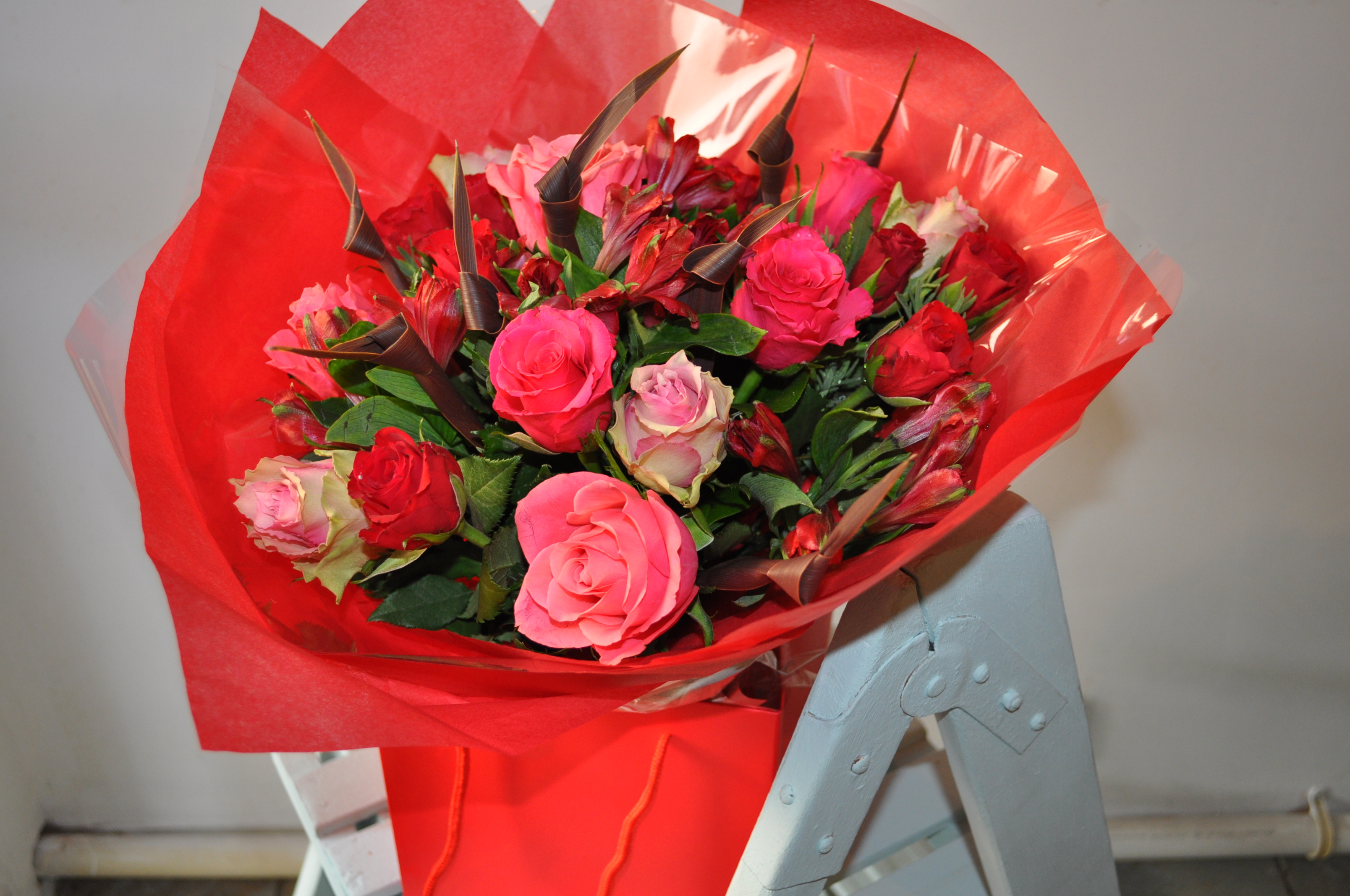 Mixed rose and alstroemeria hand tied bouquet