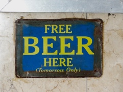 Free beer here. A joke that might be useful in an English lesson.