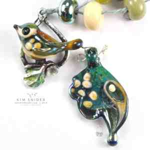 Lustre Glass Bird on Sterling Silver Branch Wreath : Gardens Collection