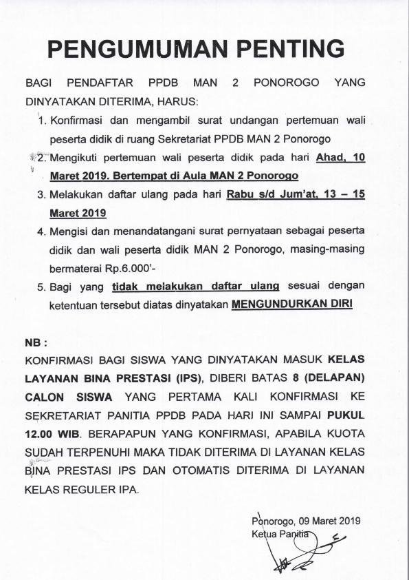 Pengumuman Jalur PMBP PPDB MAN 2 Ponorogo TP 20192020