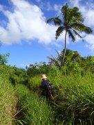 Ben navigates the overgrown path to Fangalahi beach