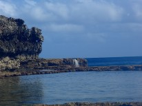 Unusual beachside waterfall