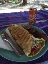 Chicken kebab with sweet potato chips at Aryana Resort