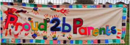 Proud 2b Parents banner, this was made during summer activity sessions by families. the banner is to be used at marches and events by the group. The rainbow hands emulate the colours of the LGBT flag and the rainbow letters are made and sewn by the children and parents attending the session. The banner measures 3m x 1m and is made of canvas and felt.
