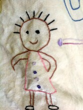 Embroidery detail of flag made in Time For U session at Moss Side Surestart