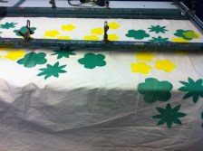 Screen-printing fabric at HotBed Press for a handmade fabric teepee to be installed at Darley avenue Children's centre.