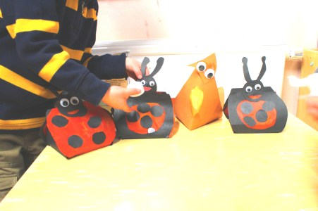 Animal shaped folded paper lanterns made with the LGBT proud2b Parents group. This is a family activity group that meet once a month in South Manchester for Lesbian, gay, bisexual and transgender parents and their families.