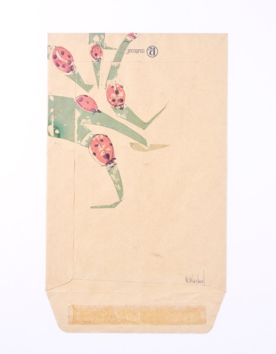 Ladybirds and Grass- drawing on old envelope