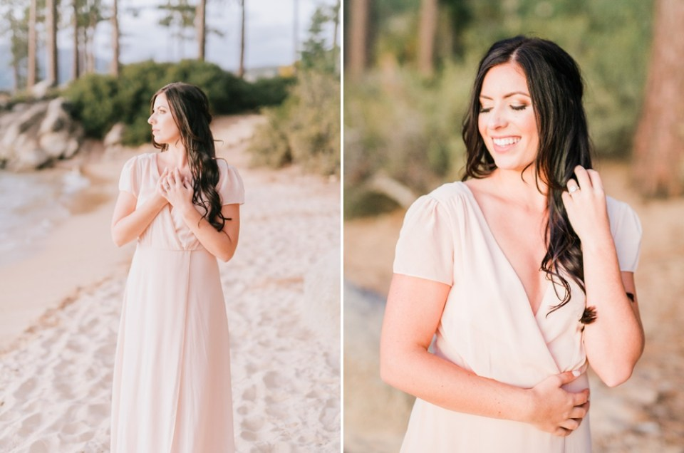 Lake Tahoe Engagement Session bride with blush dress