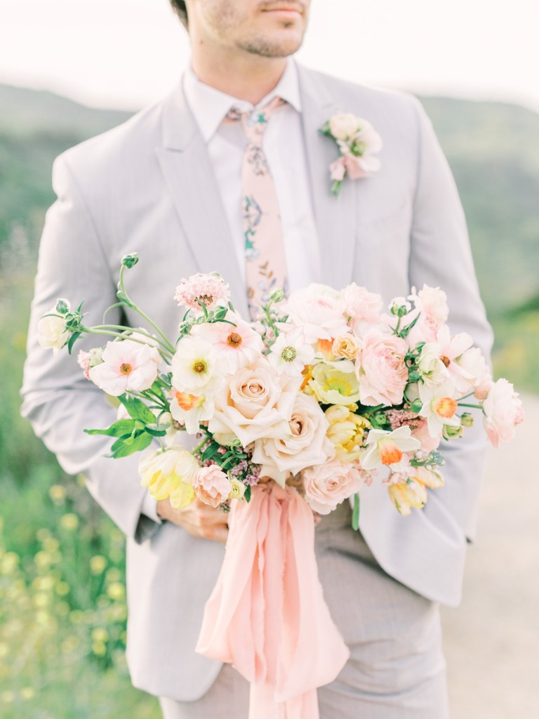 Light Gray Suit Groom Blush and Yellow Bridal Bouquet