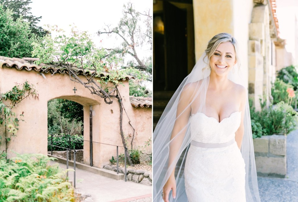 Carmel Mission Wedding Bride In Courtyard