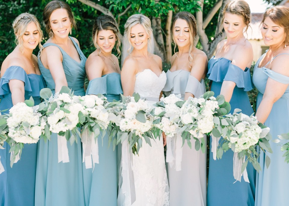 Dusty Blue and Dove Gray Bridesmaids at Carmel Mission Monterey Wedding Venue