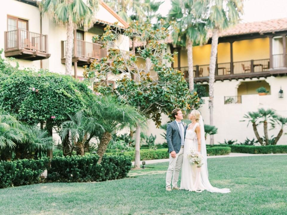 Couple In Courtyard At Sunset Estancia La Jolla Wedding Venue In San Diego