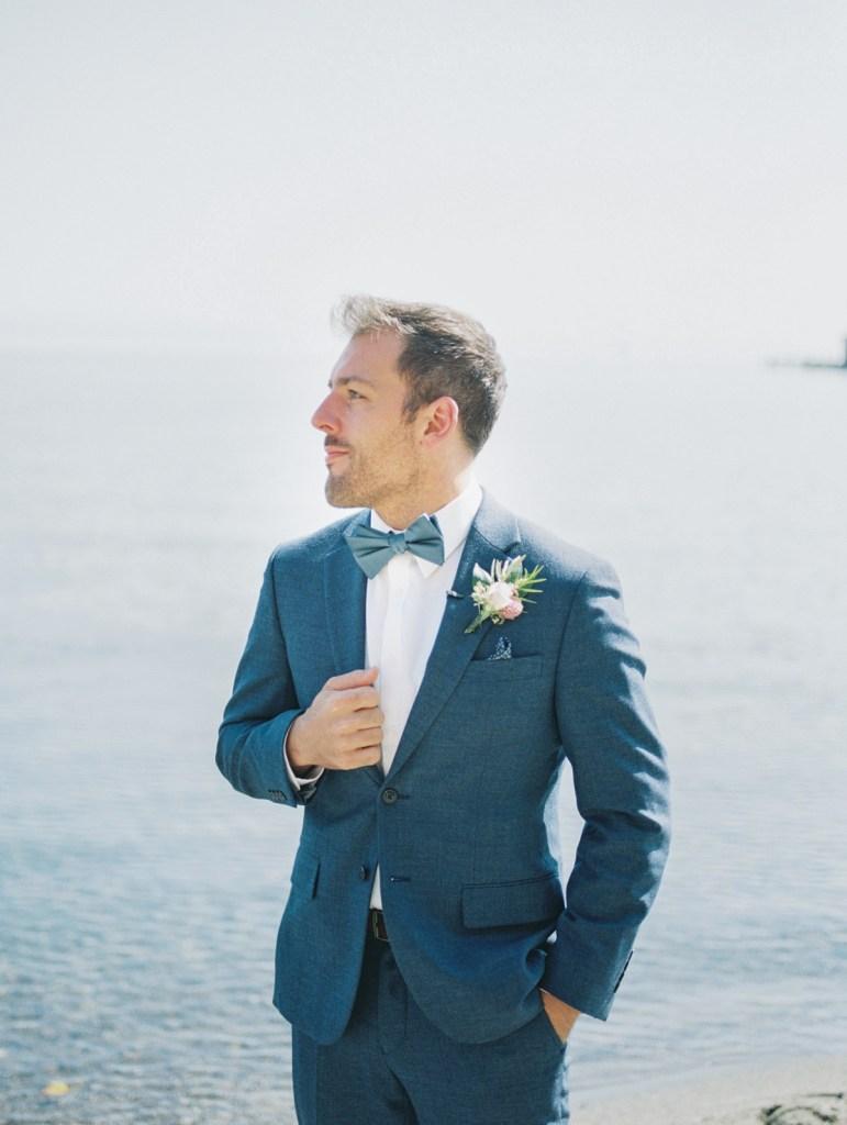 Groom awaiting his bride by Lake Tahoe Wedding Photographer
