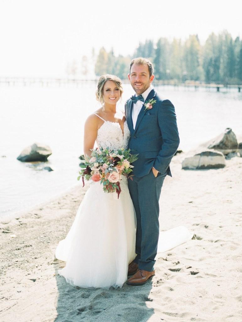 A Bride and Groom At Lake Tahoe Wedding Venue