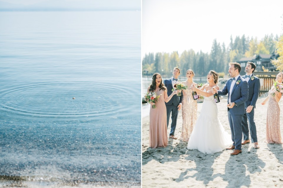 Popping Champagne At Lake Tahoe Wedding Venue