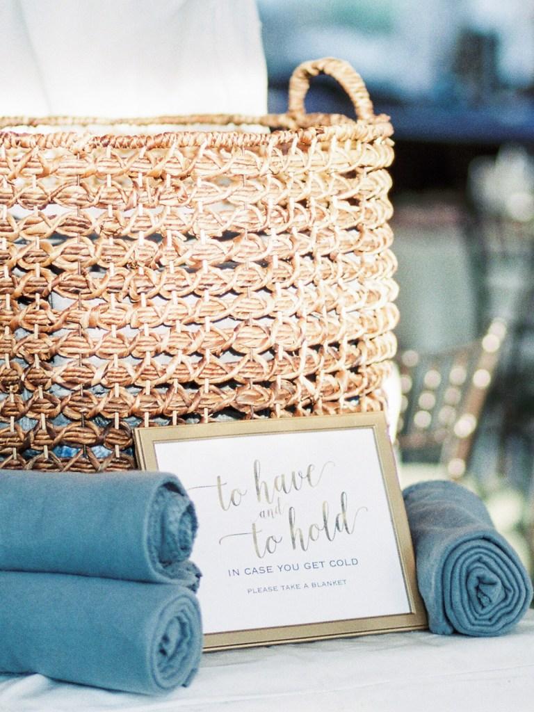 Blanket Favors In Dusty Blue At Lake Tahoe Wedding Venue