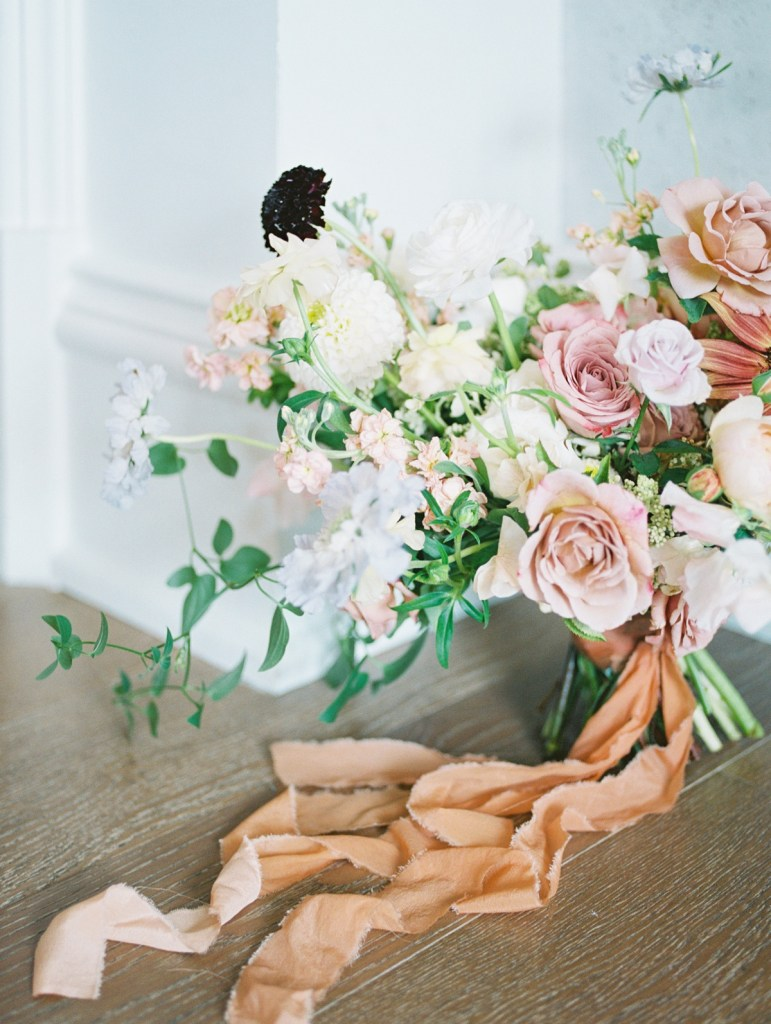 Earthy and Loose Bouquet Shot On Film at The Sagamore Pendry Hotel Wedding Venue