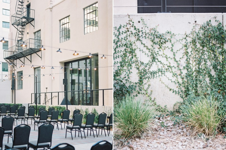 Ceremony Location At The Guild Hotel, A Downtown San Diego Wedding Venue | Shot on film by San Diego photographer, Mandy Ford