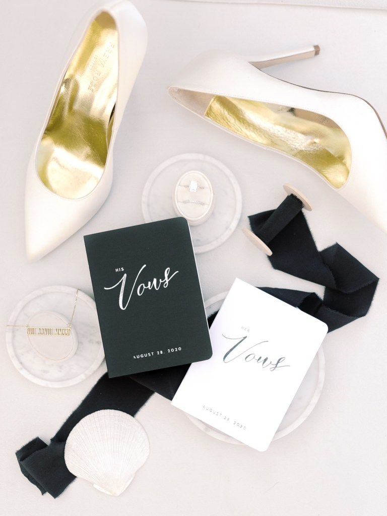 Bridal Details With Black and White Classic Vibes | Simple White Bridal Pumps | Shot on film by San Diego photographer, Mandy Ford