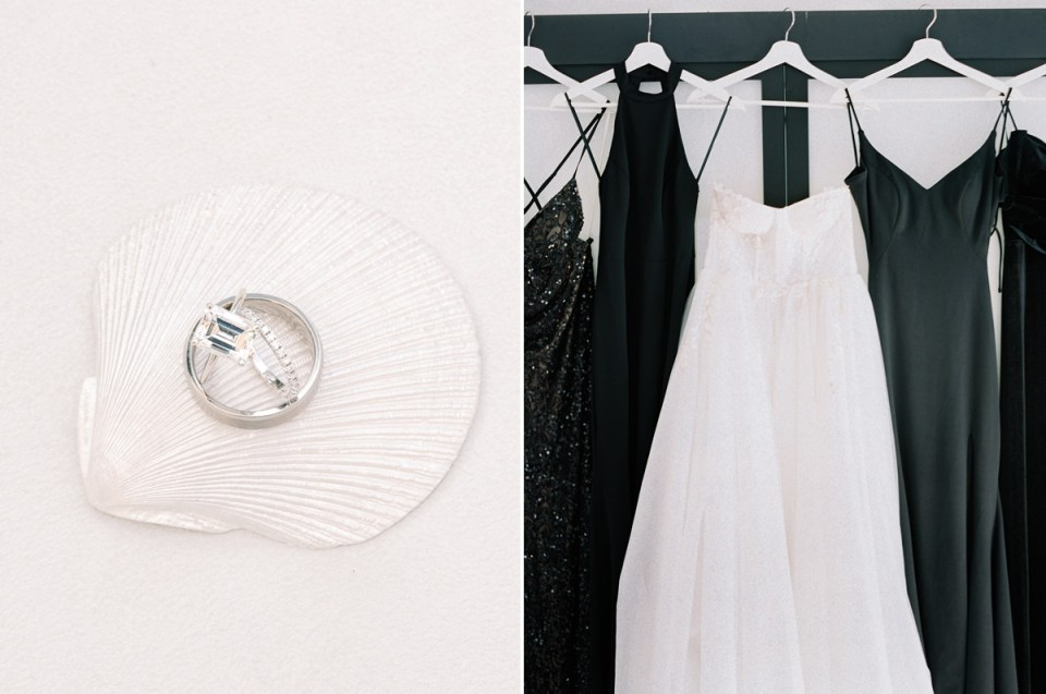 Black Bridesmaid dresses all different At The Guild Wedding Venue in San Diego